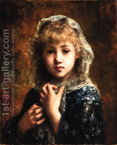 Young girl 2 by Alexei Alexeivich Harlamoff - Reproduction Oil Painting