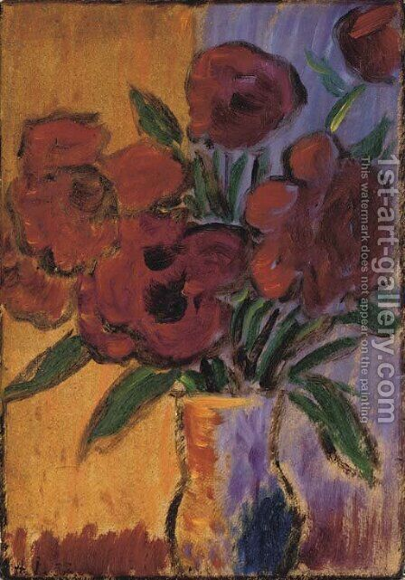 Grosses Stilleben (Rote Blumen in Vase) by Alexei Jawlensky - Reproduction Oil Painting