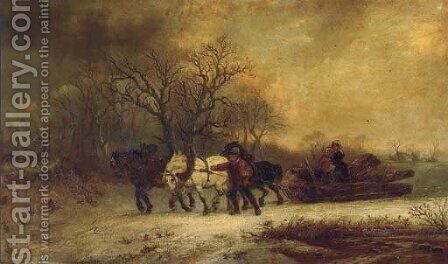 Loggers in a winter landscape by Alexis de Leeuw - Reproduction Oil Painting