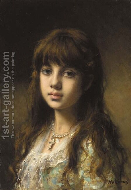A young girl 2 by Alexei Alexeivich Harlamoff - Reproduction Oil Painting
