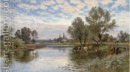 A summer's day on the Thames by Alfred Glendening - Reproduction Oil Painting
