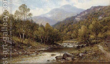 An angler on the bank of a river by Alfred Glendening - Reproduction Oil Painting