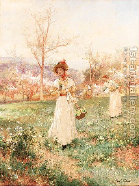 Picking flowers by Arthur Augustus II Glendening - Reproduction Oil Painting
