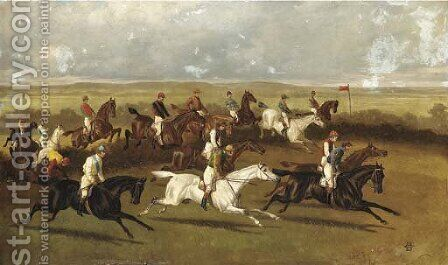 Steeplechasing, traditionally identified as 'Racing in Ireland' by Alfred Charles Havell - Reproduction Oil Painting