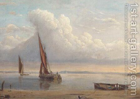 Barges in a calm on the estuary by Alfred Clint - Reproduction Oil Painting