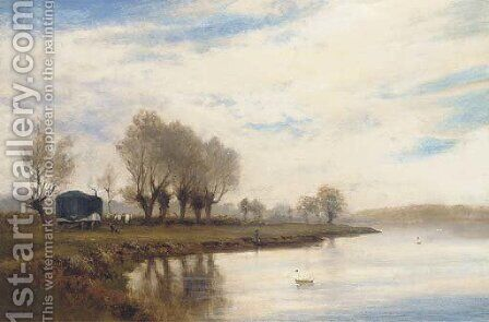 A misty morning on the tow path at Shepperton by Alfred de Breanski - Reproduction Oil Painting