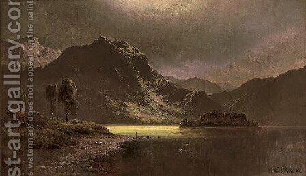 The Silver Strand, Loch Katrine by Alfred de Breanski - Reproduction Oil Painting