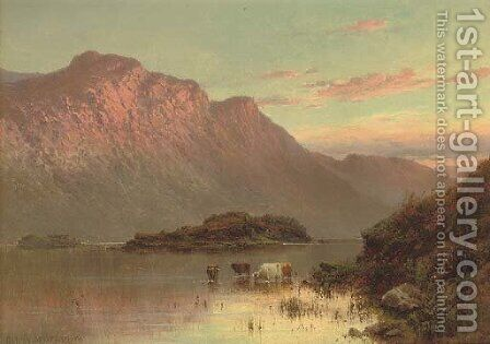 The islands near Inversnaid by Alfred de Breanski - Reproduction Oil Painting