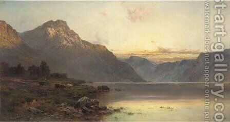 A July evening, Loch Lomond by Alfred de Breanski - Reproduction Oil Painting