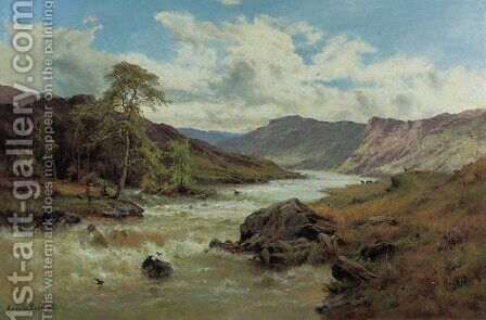 Fishing at Capel Curig, North Wales by Alfred de Breanski - Reproduction Oil Painting