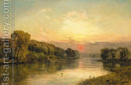The close of day, Quarry Wood on the Thames by Alfred de Breanski - Reproduction Oil Painting
