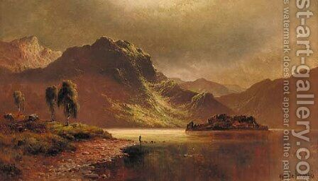 'The Silver Strand', Loch Katrine by moonlight by Alfred de Breanski - Reproduction Oil Painting