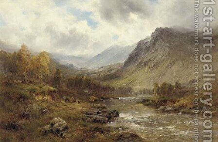 A Perthshire salmon river by Alfred de Breanski - Reproduction Oil Painting
