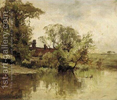 A riverside farm by Alfred de Breanski - Reproduction Oil Painting