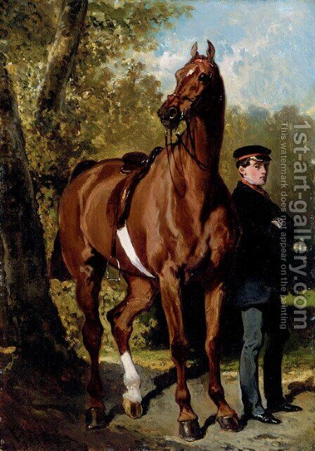 A Soldier with a Horse in a Landscape by Alfred Dedreux - Reproduction Oil Painting