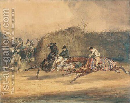 La rencontre evitee Galloping horsemen avoiding a horse and cart by Alfred Dedreux - Reproduction Oil Painting