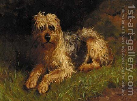 A soft-coated wheaten terrier by Alfred Duke - Reproduction Oil Painting