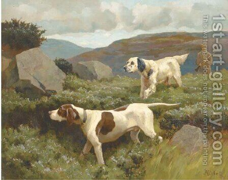 An English setter and a pointer by Alfred Duke - Reproduction Oil Painting