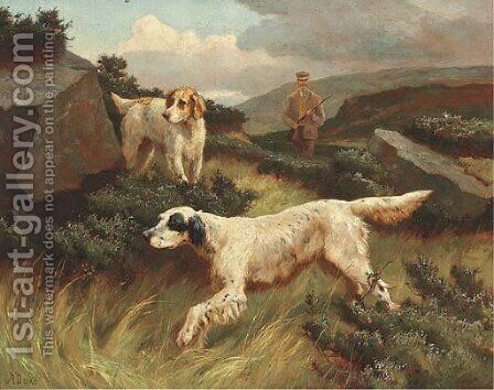 Setters on the point by Alfred Duke - Reproduction Oil Painting