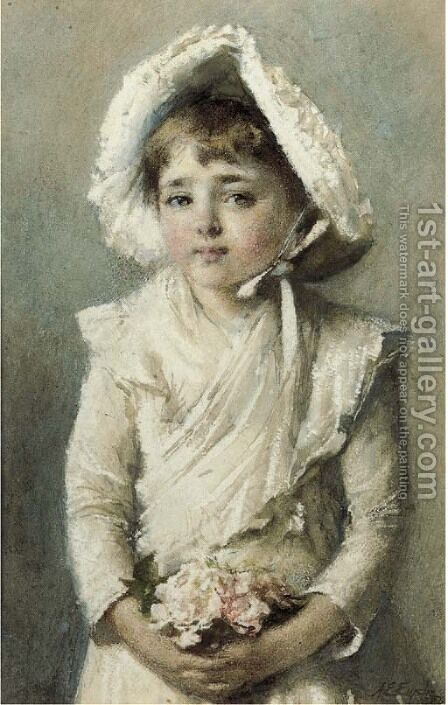Portrait of a young girl with a bonnet holding a small bouquet by Alfred Edward Emslie - Reproduction Oil Painting