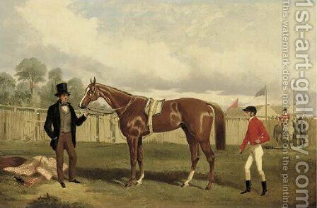 The jockeys' enclosure by Alfred F. De Prades - Reproduction Oil Painting