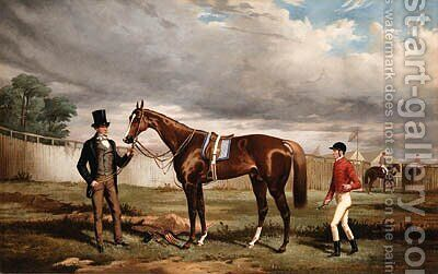 Sir Joseph Hawley's Teddington held by his Trainer Alec Taylor with the Jockey Job Marson at Epsom by Alfred F. De Prades - Reproduction Oil Painting