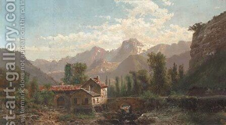 At a bridge in a mountainous landscape by Alfred Godchaux - Reproduction Oil Painting