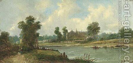 Eton College from the Thames by Alfred Vickers - Reproduction Oil Painting