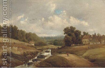 Figure on a track by a brook, with buildings beyond by Alfred Vickers - Reproduction Oil Painting