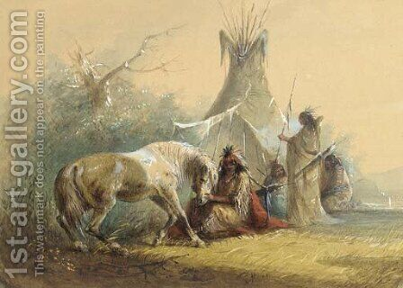 Shoshone Indian and His Pet Horse by Alfred Jacob Miller - Reproduction Oil Painting