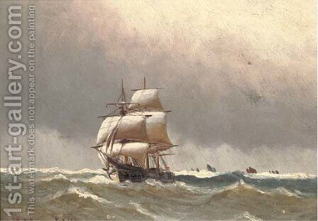 Af full sail by Alfred Serenius Jensen - Reproduction Oil Painting
