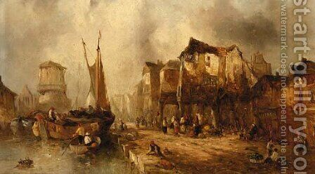 Barges approaching a quay by Alfred Montague - Reproduction Oil Painting