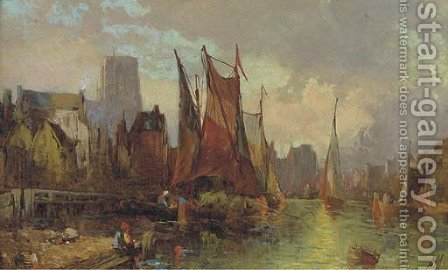 Hay barges in a continental port at dusk by Alfred Montague - Reproduction Oil Painting