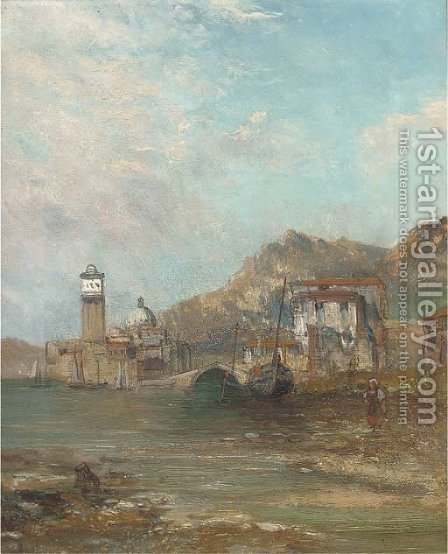 Figure and boats at a harbour mouth with a church beyond by Alfred Pollentine - Reproduction Oil Painting
