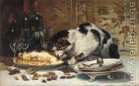 The cat who got the cream by Alfred Puissant - Reproduction Oil Painting