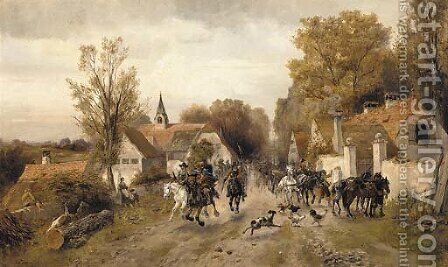 The approaching cavalry 2 by Alfred Ritter von Malheim Friedlander - Reproduction Oil Painting