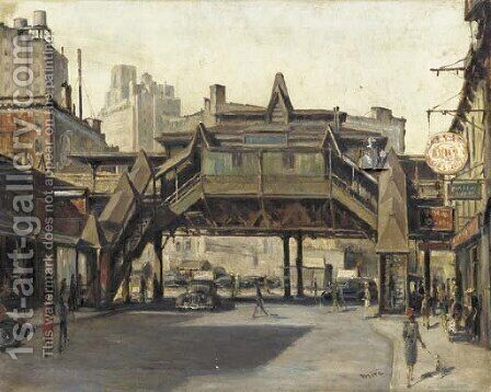 The El (View of Sixth Avenue and 8th Street) by Alfred S. Mira - Reproduction Oil Painting