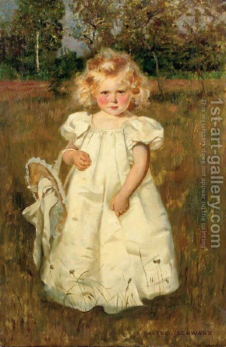 A pretty white dress by Alfred Schwarz - Reproduction Oil Painting