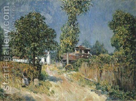 Chemin montant au Mont Valerien by Alfred Sisley - Reproduction Oil Painting