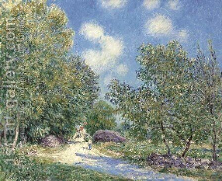 Le matin Le long du bois, au mois de juin by Alfred Sisley - Reproduction Oil Painting