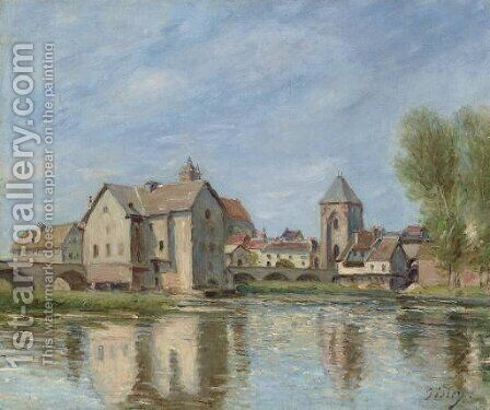 Le pont et les moulins de Moret sur Loing by Alfred Sisley - Reproduction Oil Painting