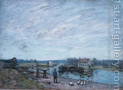 Les oies  Saint-Mamms by Alfred Sisley - Reproduction Oil Painting