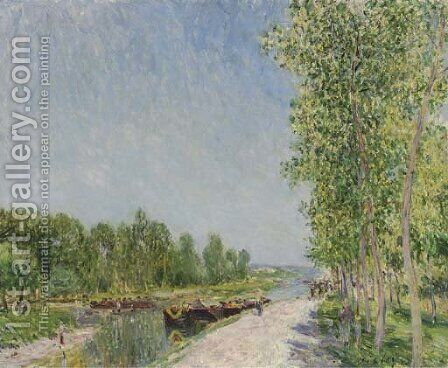 Sur le bord du canal du Loing by Alfred Sisley - Reproduction Oil Painting