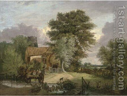 A wooded landscape with figures in a cart crossing a ford, a cottage and ruined tower beyond by Alfred Stannard - Reproduction Oil Painting