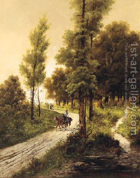 Travellers on a Track in a wooded Landscape by Alfred Steinacker - Reproduction Oil Painting