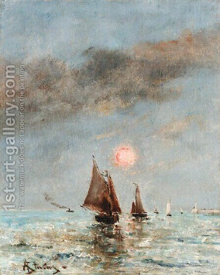 Boats at dusk by Alfred Stevens - Reproduction Oil Painting
