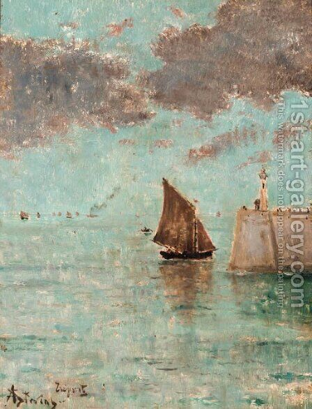 Bords de mer a Treport by Alfred Stevens - Reproduction Oil Painting