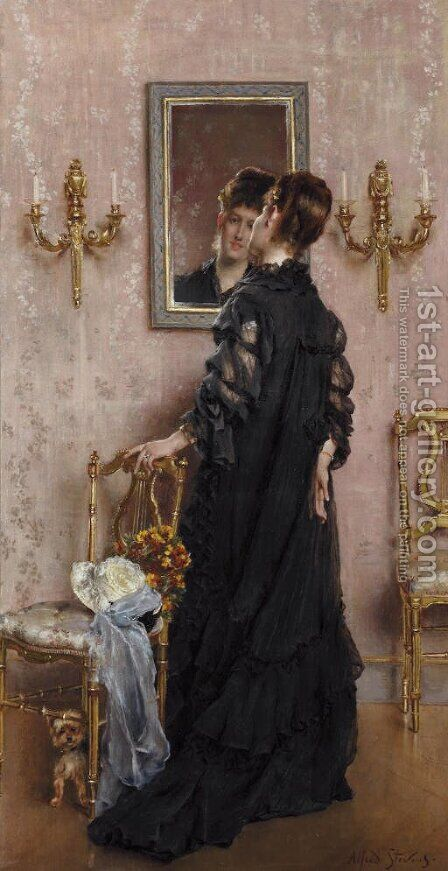 La visite by Alfred Stevens - Reproduction Oil Painting