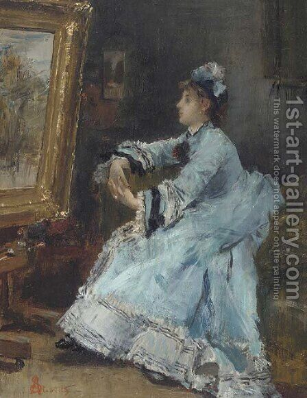 Une dame admirant un tableau by Alfred Stevens - Reproduction Oil Painting