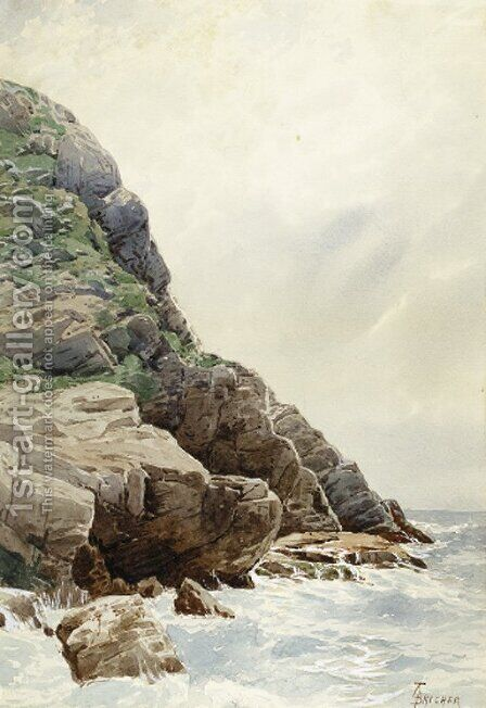 Surf and Cliffs, Conanicut, R.I. by Alfred Thompson Bricher - Reproduction Oil Painting